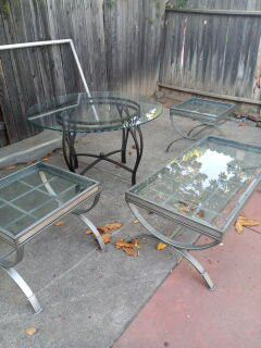 Glass Dinning room table with 4 chairs, Glass Coffee table with 2 matching end tables. for Sale in Roseville, CA