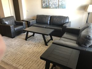 Leather couch, love seat, chair and table set for Sale in Peoria, AZ