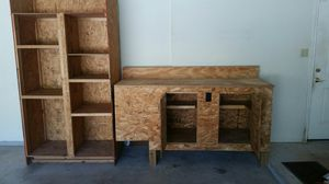 Solid Wood Garage Workbench & Cabinets w/ Electrical Outlets & Tall Shelving Unit Furniture Lots of Organization, Storage Space for Tools / Supplies for Sale in Cedar Park, TX