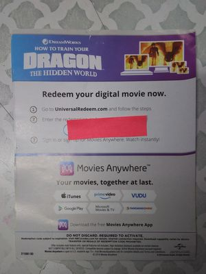 How to train a dragon digital movie for Sale in Bell Gardens, CA