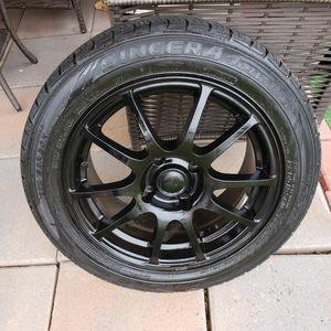 MATT BLACK RIMS +TIRES 4×110 WITH ADAPTERS 4×100 for Sale in Delair, NJ