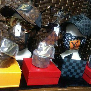 Designer Leather Hats $40 ,Leather Wallet$30, LeatherBelts$65, Leather Face Masks$40, Designer Jacket$100, Designer Sun Glasses$50, Supreme Shirt $35 for Sale in Fairburn, GA