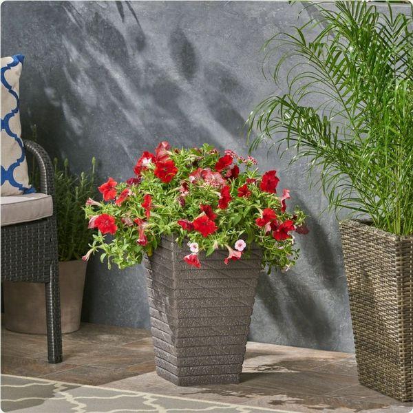 Gray Outdoor Concrete Garden Planter, Flower Pot