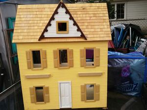 VTG HANDMADE 2 story wooden dollhouse with dollhouse furniture kit for Sale in Lincoln Park, MI