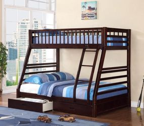 Mission Style Wooden Bunk Bed with Bottom Storage Drawer for Sale in Pomona,  CA