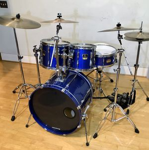 Yamaha Stage Custom Advantage 5 piece blue drum set drums kit Sabian AA XS20 cymbals pearl double bass pedal DW5000 HH $750 Ontario for Sale in Montclair, CA