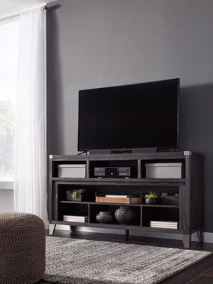 Ashley Furniture Dark Gray Large TV Stand w/Fireplace Option for Sale in Santa Ana, CA