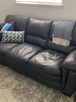 Couch - Gray Leather for Sale in Austin,  TX