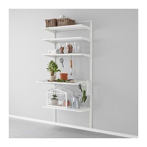 Ikea Algot white wall mounted shelf bin storage 5 shelves 2 bins for Sale in Lake Forest, CA