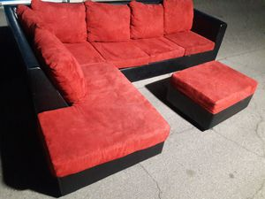 Comfortable sectional couch red with ottoman ,in bed mattress queen, for Sale in Phoenix, AZ