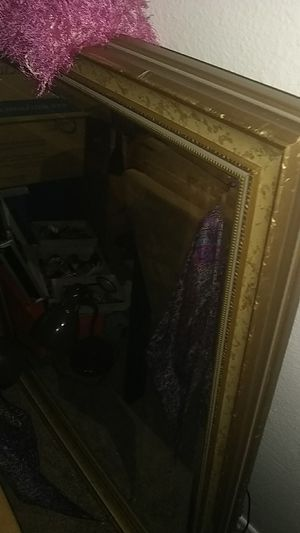 Large 1/4 glass framed mirror for Sale in Las Vegas, NV