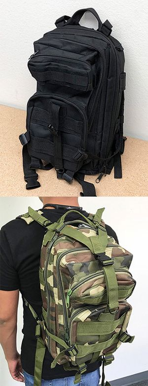 (NEW) $15 each 30L Outdoor Military Tactical Backpack Camping Hiking Trekking (Black/Camouflage) for Sale in Pico Rivera, CA