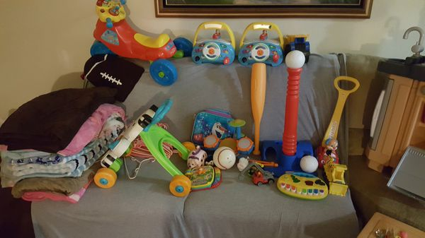 Toys for kids and blankets