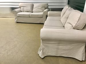 Ikea living room set loveseat and sofa with new covers! - Can Deliver for Sale in Alexandria, VA