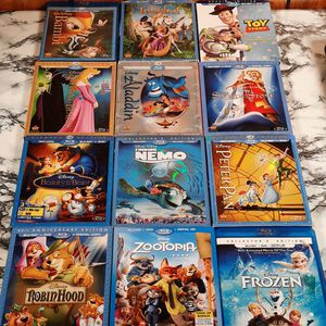 (12) Disney blu Ray dvd combo movie animated kids lot Nemo Aladdin Bambi frozen toy story and more for Sale in Seffner, FL