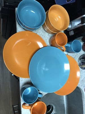 Porcelain Blue and Orange Dinner Plate, Bowl, Coffee Cup Set for Sale in Washington, DC