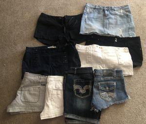 8 shorts 1 skirt Junior/women's clothing for Sale in Hemet, CA