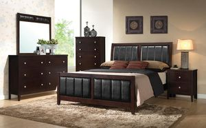 4PC QUEEN BEDROOM SET: QUEEN BED FRAME, DRESSER, MIRROR, NIGHTSTAND--ALL SOLID WOOD for Sale in Antioch, CA