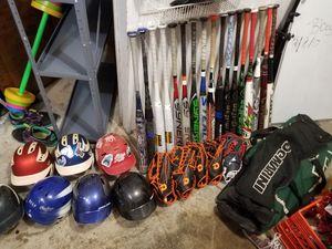 Softball bats baseball helmets gloves for Sale in Roselle Park, NJ
