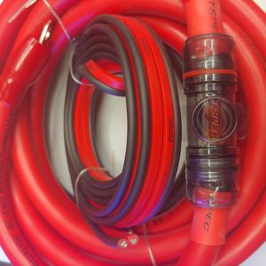 Car amplifier install kit : 1/ 0 age wire kit 20 ft red CCA power, speaker wire rca jack. 12 feet 12 gauge speaker wire mini ANL 150a fuse 20 ft rca for Sale in South Gate, CA