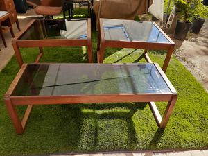 Vintage sled wood with glass top coffee table and side table tables set for Sale in San Diego, CA