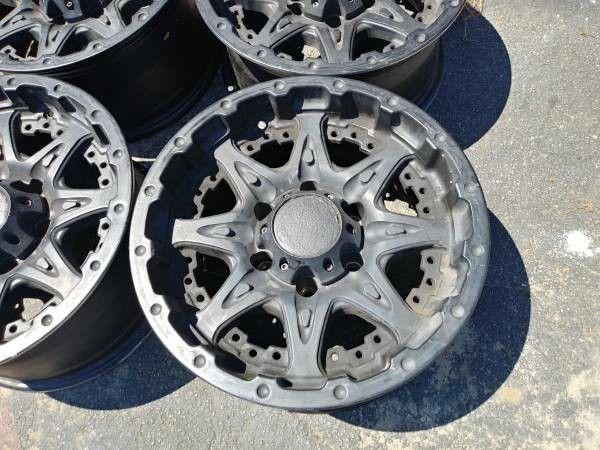 Black 16x8 Alloy wheels 6 lug chevy toyota nissan