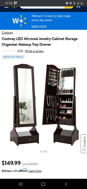 New Costway LED Mirrored Jewelry Cabinet Armoire Storage Organizer with Makeup Drawer for Sale in Buena Park, CA