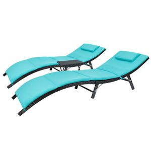 💯🧏♀️ Brand new,,!!!Walnew 3 PCS Patio Furniture Outdoor Lounge Chairs Folding Lawn Poolside Patio Chaise Lounge Sets PE Rattan Chaise Lounges with for Sale in Sugar Land, TX