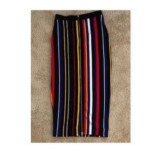 NWOT: Fashion Nova Multi-colored Midi Striped Skirt for Sale in Malden, MA