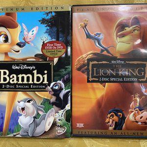 Disney DVD Set Lion King and Bambi Platinum Edition for Sale in Boca Raton, FL