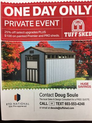 Grand Opening Sale- Tuff Sheds Derry NH for Sale in Salem, NH