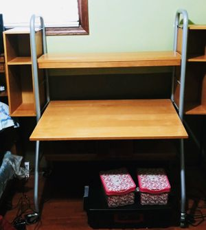 Desk, Artist made of Wood and Metal. Very sturdy. Cubbies can be removed from either side. We just liked having both attached. for Sale in Lancaster, NY