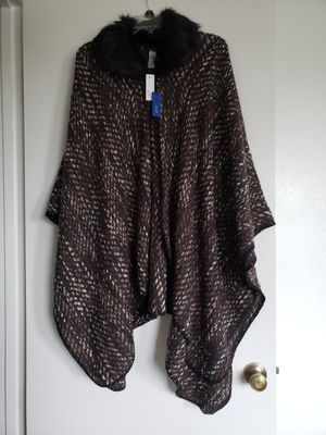 Brand new Women's poncho ruana wrap with fur collar Retails for $68. New. Tags attached. Super soft and warm. Selling for $15. for Sale in Ventura, CA