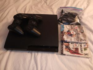 Sony Ps3 + 2 controllers+ 3 games for Sale in Lakewood, WA