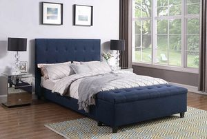 Blue Queen Platform Bed with Storage Ottoman. New In Boxes. No mattress Set. for Sale in Destin, FL