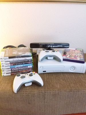 XBOX 360 with Kinect Controllers and 9 games Assassins Creed Mass Effect Fable II Crackdown for Sale in Portland, OR