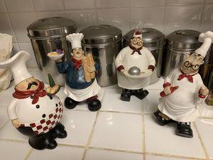 Four Collectible Chef Mario Italian Bistro Restaurant Themed Statue (kitchen, dining centerpiece decor) for Sale in Sacramento, CA
