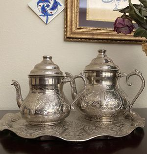 Turkish cooper teapot set with a tray. Good for decoration for Sale in Renton, WA