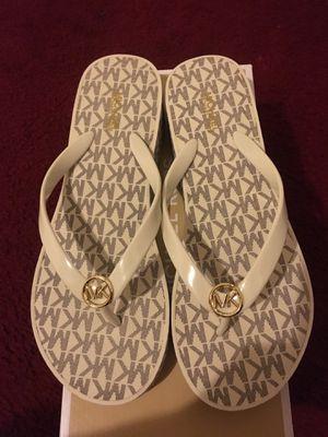 Michael Kors cream/white logo sandals size 8 Brand NEW for Sale in Santa Ana, CA