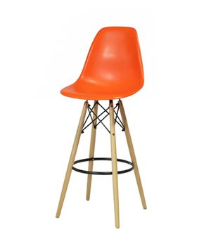 Nice New Mid Century Modern Style Orange Barstool Chair w/ Wooden Legs for Sale in Glendale, AZ