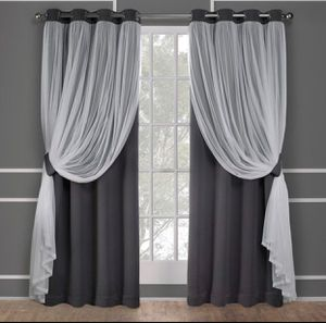 2 Exclusive Home Catarina Layered Solid Blackout and Sheer Window Curtain Panel Pair Winter White - EH8256-09 2-84G for Sale in Inverness, FL