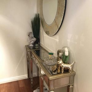 Golden Wood And Glass Entry Way Console for Sale in Bellevue, WA