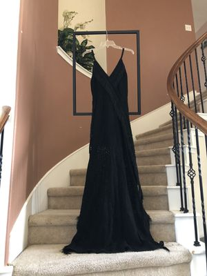 NEW black lace maxi dress with fringe detailing- size Medium for Sale in Cypress, TX