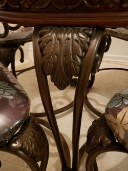 Glass Top, Wood and Metal, Floral Design Dining Room Table for Sale in San Diego,  CA