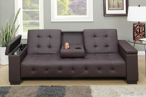 Brown Faux leather Convertible adjustable Futon Sofa bed for Sale in Chino, CA
