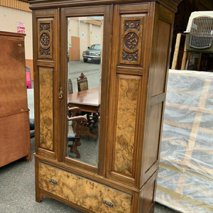 Antique Armoire with Mirrored Door and Burled Front Panels - Delivery Available for Sale in Tacoma, WA