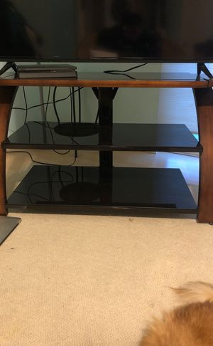 Wooden glass tv stand for Sale in Anchorage, AK