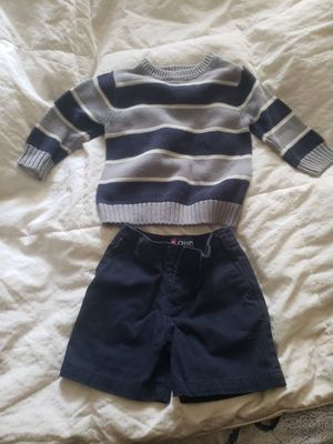 Baby 18 months outfit. Sweater and jeans shorts. Navy. Flawless for Sale in Tacoma, WA