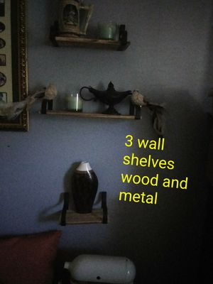 👍3 wall shelves.. wood and metal, rustic Farmhouse look for Sale in Lauderdale-by-the-Sea, FL