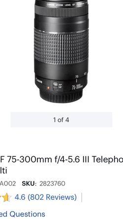 Canon - EF 75-300mm f/4-5.6 III Telephoto Zoom Lens - Multi for Sale in San Jose,  CA